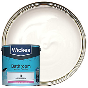 Wickes Pure Brilliant White - No. 0 Bathroom Soft Sheen Emulsion Paint - 2.5L