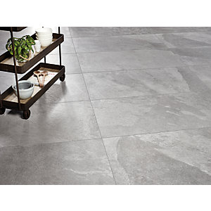 Boutique Akita Grey Glazed Porcelain Tile 1200 x 600mm