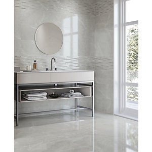 Boutique Bukan Silver Glazed Porcelain Wall & Floor Tile 600 x 600mm