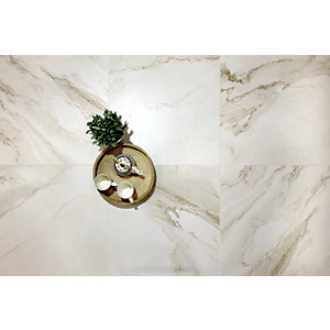 Boutique Calacatta Gold Lux Glazed Porcelain Tile 600 x 600mm