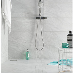 Boutique Kallo Stone Light Grey Grip Glazed Porcelain Wall & Floor Tile 598 x 598mm