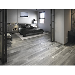 Boutique Oslo Grey Glazed Porcelain Wood Effect Tile 1200 x 200mm