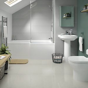 Boutique Smart White Lux Glazed Porcelain Wall & Floor Tile 600 x 600mm