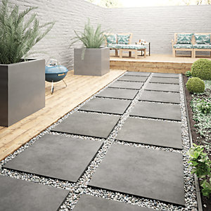 Wickes Al Fresco Graphite Indoor U0026 Outdoor Porcelain Floor Tile 610 X 610mm
