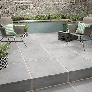 Wickes Al Fresco Grey Indoor & Outdoor Porcelain Floor Tile 610 x 610mm