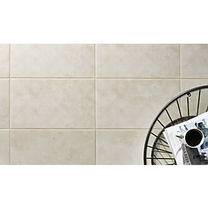 Wickes Battersea Geo Decor White Ceramic Floor & Wall Tile 498 x 298mm