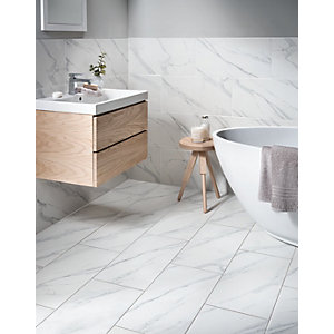 Bon Wickes Calacatta Matt White Glazed Marble Effect Porcelain Tile 600 X 300mm