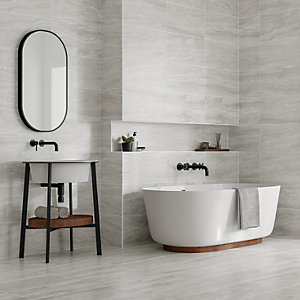 Wickes Callika Mist Grey Porcelain Wall & Floor Tile 600 x 300mm