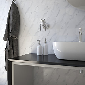Wickes Carrara Gloss Ceramic Tile - 300 x 100mm