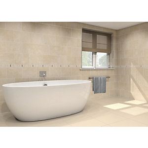 Wickes Crema Marfil Stone Effect 293 x 62mm Border Tile