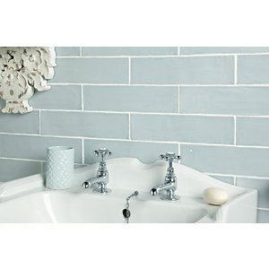 Wickes Farmhouse Duck Egg Ceramic Wall Tile 300 x 75mm