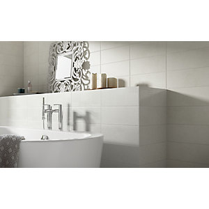 Wickes Logic Grey Ceramic Wall Tile 400 x 150mm