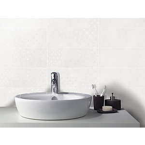 Wickes Logic Ivory Decor Ceramic Wall Tile 400 x 150mm