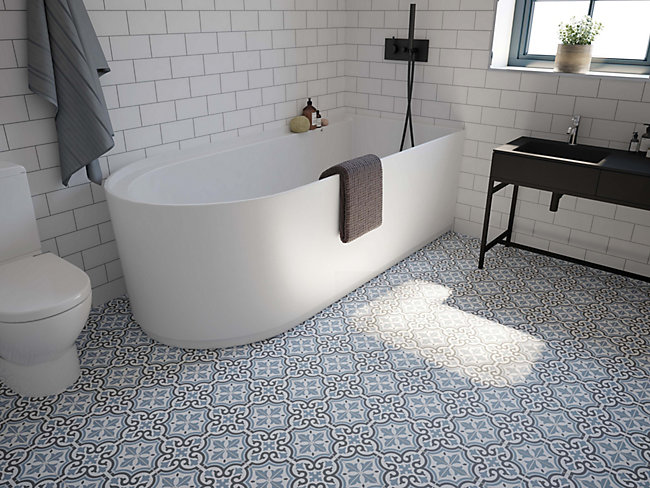 Melia Blue Patterned Ceramic Tile