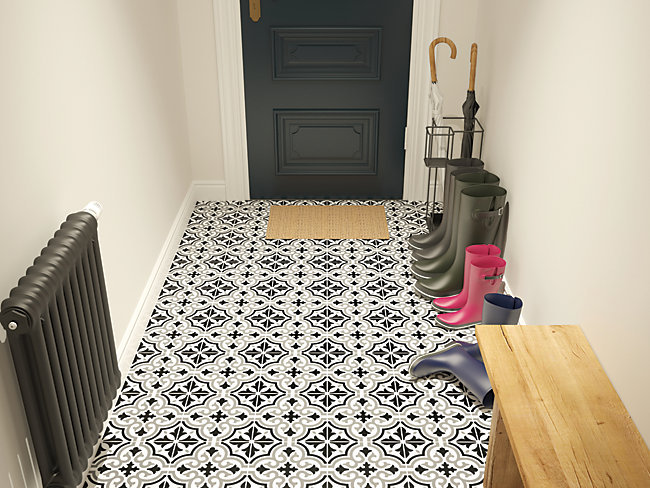 Melia Charcoal Patterned Cermamic Tile