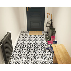 Wickes Melia Charcoal Patterned Ceramic Wall & Floor Tile 200 x 200mm