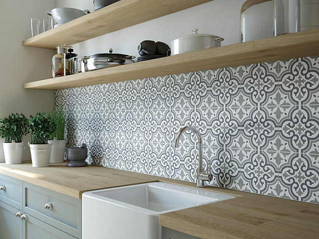 Melia Sage Patterend Ceramic Tile
