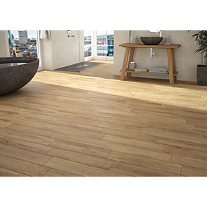 Wickes Mercia Oak Wood Effect Wall & Floor Tile 600 x 150mm