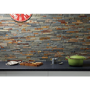Wickes Multicolour Split Face Slate Pack of 8 360 x 100mm