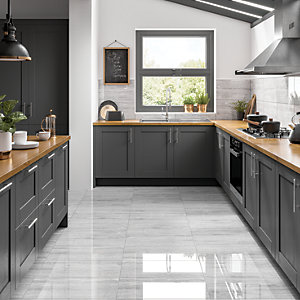Wickes Olympia Grey Polished Stone Porcelain Wall & Floor Tile 600 x 300mm