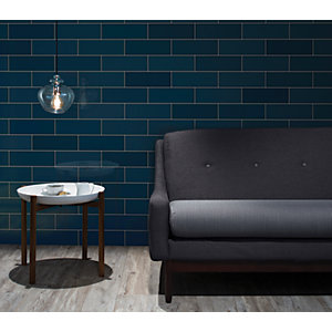 Wickes Soho Blue Ceramic Wall Tile 300 x 100 mm