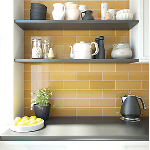 Wickes Soho Yellow Ochre Ceramic Wall Tile 300 x 100 mm