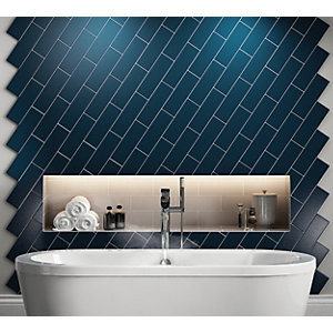 Wickes Twilight Dark Blue Ceramic Wall Tile 300 X 100mm