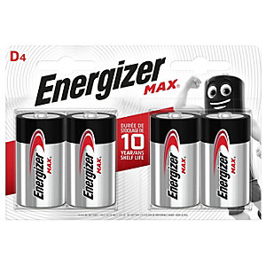 Energizer Max D4 Batteries - Pack of 4
