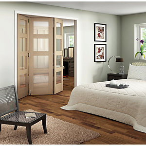 Wickes Ashton Internal Folding Door Oak Veneer Glazed 4 Lite 3 Door 2047 x 1929mm