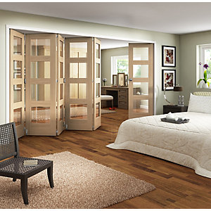 Wickes Ashton Internal Folding Door Oak Veneer Glazed 4 Lite 6 Door 2047 x 3771mm