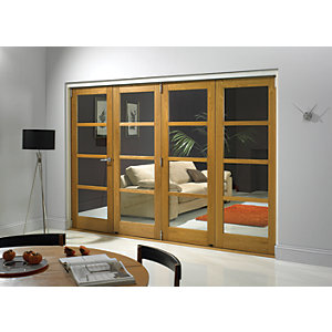 Wickes Belgrave Fully Glazed Oak 4 Lite Internal Bifold Door Set 2074mm X 2990mm