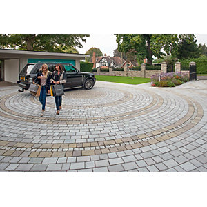 Marshalls Fairstone Tumbled Natural Stone Split Set Block Paving - Silver Birch 200 x 100 x 50mm Pack of 400