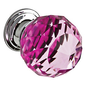 Wickes Faceted Glass Door Knob - Pink/Chrome 30mm Pack of 4