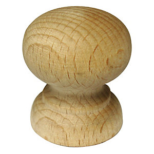 Wickes Shaped Door Knob - Beech 33mm Pack of 4