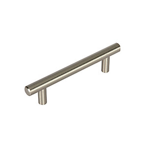 Wickes T Bar Door Handle - Brushed Nickel 188mm Pack of 2