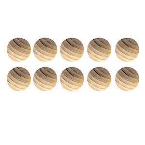 Wickes Unvarnished Ring Door Knob - Beech 40mm Pack of 10