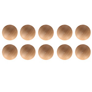 Wickes Unvarnished Ring Door Knob - Pine 40mm Pack of 10
