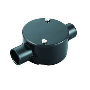 Wickes 2 Way Conduit Through Box - Black 20mm