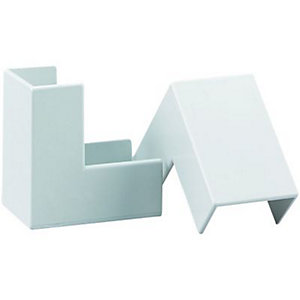 Wickes Mini Trunking Outside Angle - White 25 x 16mm Pack of 2