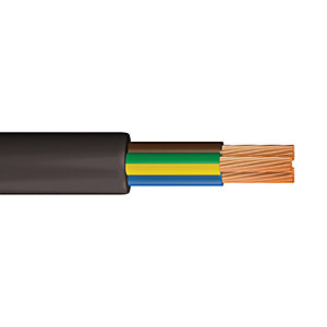Time 3 Core Flexible Round Cable - Black 1.0mm2 x 10m