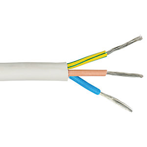 Time 3 Core Heat-Resistant Flexible Butyl Cable - White 2.5mm2 x 15m