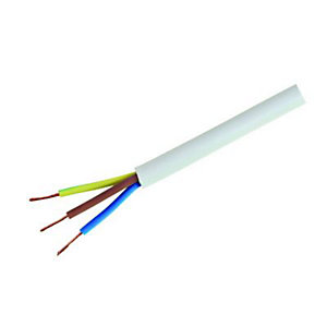 Wickes 3 Core Flexible Cable - White 0.75mm2 x 16.5m