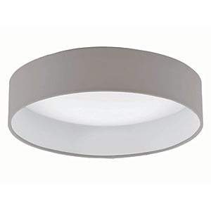 Eglo LED White & Taupe Fabric Round Ceiling Light - 11W