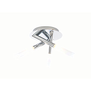 Spa Crux Chrome Treble Bathroom Flush Ceiling Light - 84W