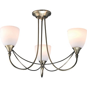 Ceiling lights lighting decorating interiors wickes village at home nottingham 3 light antique brass ceiling lamp 60w e14 aloadofball Gallery