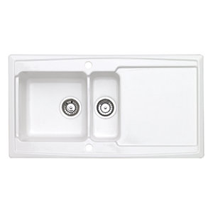 Wickes Contemporary 1.5 Bowl Ceramic Kitchen Sink - White