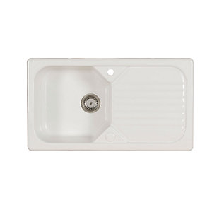 Wickes Garrigue 1 Bowl Ceramic Kitchen Sink - White