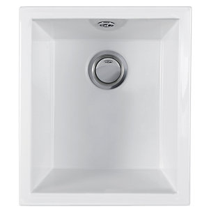 Wickes Square 1 Bowl Ceramic Kitchen Sink - White