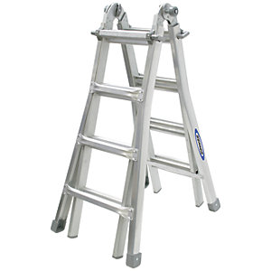 Werner 4x4 Telescopic Aluminium Combination Ladder - Max Height 3.98m
