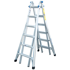 Werner 4x6 Telescopic Aluminium Combination Ladder - Max Height 7m